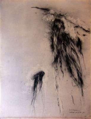 Méduse (Fusain) - Jean-Jacques  DOURNON