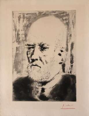 Portrait of Ambroise Vollard II (Aquatint) - Pablo  PICASSO
