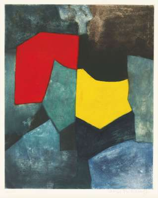 Composition rouge, verte, jaune et bleue (Etching and aquatint) - Serge  POLIAKOFF