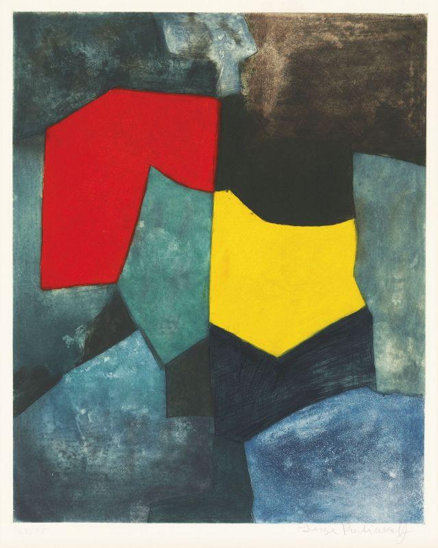 Composition rouge, verte, jaune et bleue XVI (Etching and aquatint) - Serge  POLIAKOFF