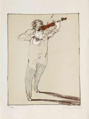 Petit violoniste (Lithographie) - Claude WEISBUCH