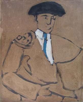 Matador bleu (Huile sur papier) - Alexis  POLIAKOFF