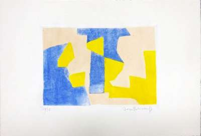Composition Bleue rose et jaune n° XXXVII (Eau-forte et aquatinte) - Serge  POLIAKOFF