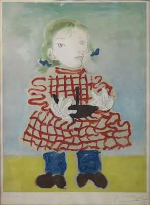 """""""Maya au tablier à carreaux"""" (Lithographie) - Pablo  PICASSO"""