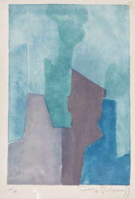 Composition Bleue XXIV (Aquatinte) - Serge  POLIAKOFF