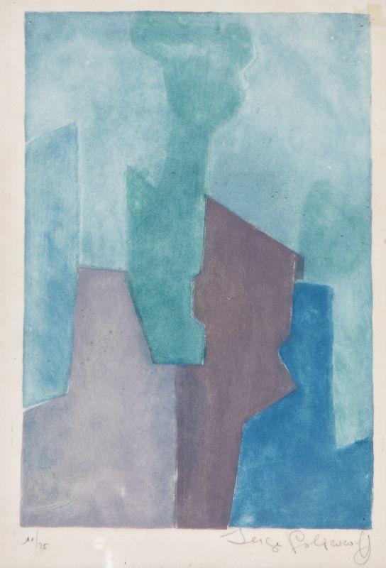 Composition Bleue (Aquatinte) - Serge  POLIAKOFF