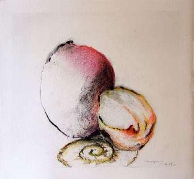 Fruits et panier (Fusain) - Jean-Jacques  DOURNON