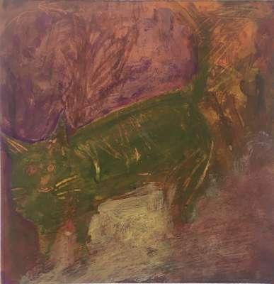 Chat vert (Gouache) - Gilles MAUPUR