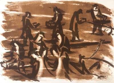 Force de la mer VI (Lithograph) - Jean HELION