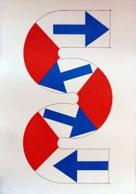 S (blue arrows) (Lithograph) - Kumi SUGAÏ