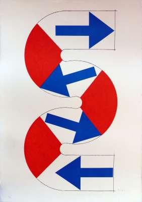 S (flèches bleues) (Farblithographie) - Kumi SUGAÏ
