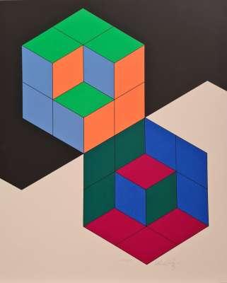 Bi-Hexa (Silksreen) - Victor  VASARELY