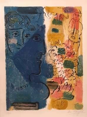 Profil bleu (Lithographie) - Marc CHAGALL