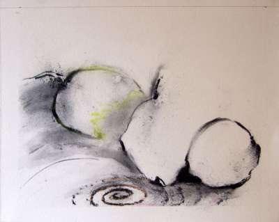 Trois fruits (Zeichenkohle) - Jean-Jacques  DOURNON