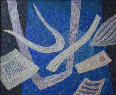 Composition en bleu (Huile sur toile) - Henri GOETZ