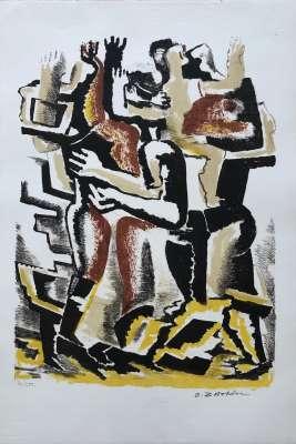 Couple (Lithograph) - Ossip  ZADKINE