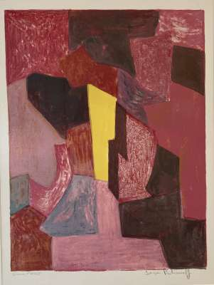Red, carmine and yellow composition (Lithograph) - Serge  POLIAKOFF