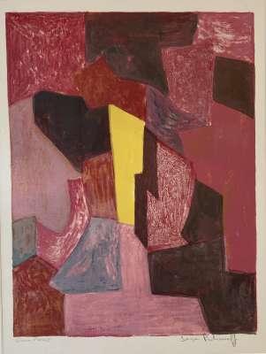 Composition rouge, carmin et jaune (Lithographie) - Serge  POLIAKOFF