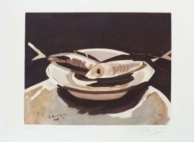 Les Poissons (Lithographie) - Georges BRAQUE