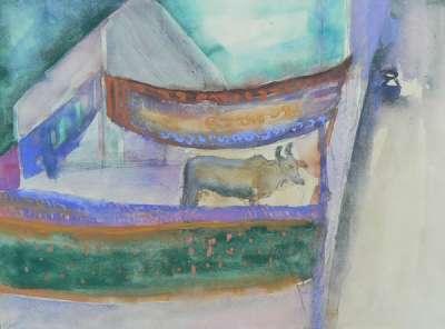 Vache et saris (Gouache) - Véronique NEROU