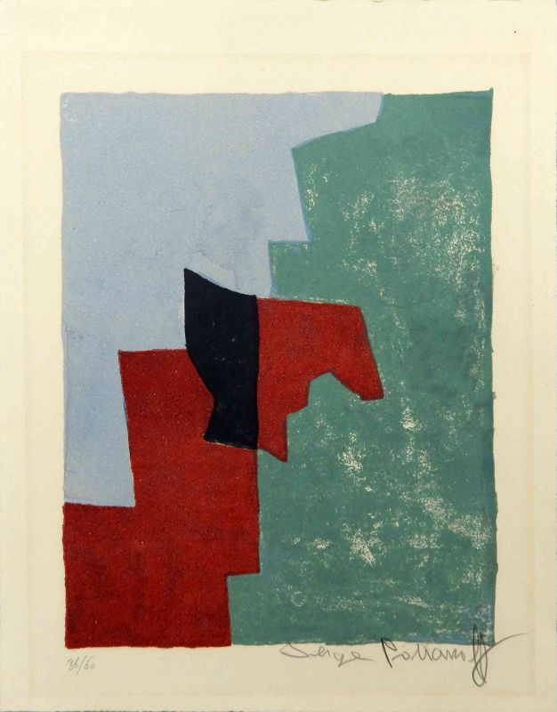 Composition rouge, verte et bleue n°32 (Lithographie) - Serge  POLIAKOFF