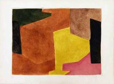 Composition brune, jaune et mauve n° VIII (Eau-forte et aquatinte) - Serge  POLIAKOFF