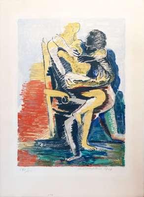 Les Amants (Lithographie) - Ossip  ZADKINE