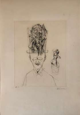 The man with the bowler hat (Engraving) - Hans BELLMER