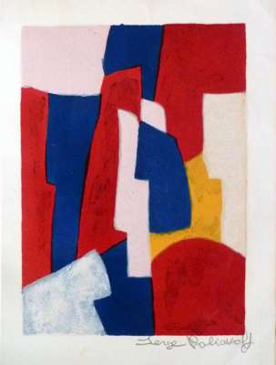 Composition bleue, rouge et rose L34 (Farblithographie) - Serge  POLIAKOFF