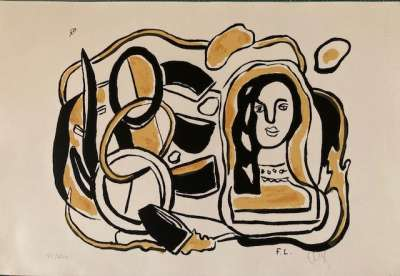 Composition noire et jaune (Sérigraphie) - Fernand LEGER