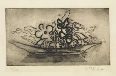 Basket of flowers (Aquatint) - Georges BRAQUE