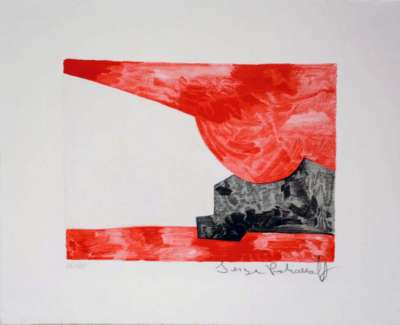 Composition rouge, blanche, noire n°42 (Lithographie) - Serge  POLIAKOFF