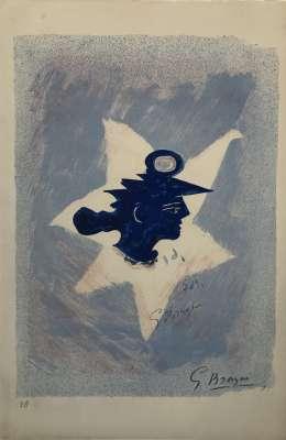 Tête grecque (Lithographie) - Georges BRAQUE