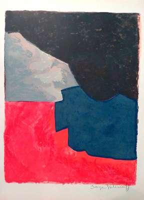 Composition rouge, grise et noire (Lithographie) - Serge  POLIAKOFF