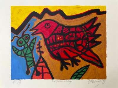 L'oiseau Rouge (Lithographie) - Guillaume CORNEILLE