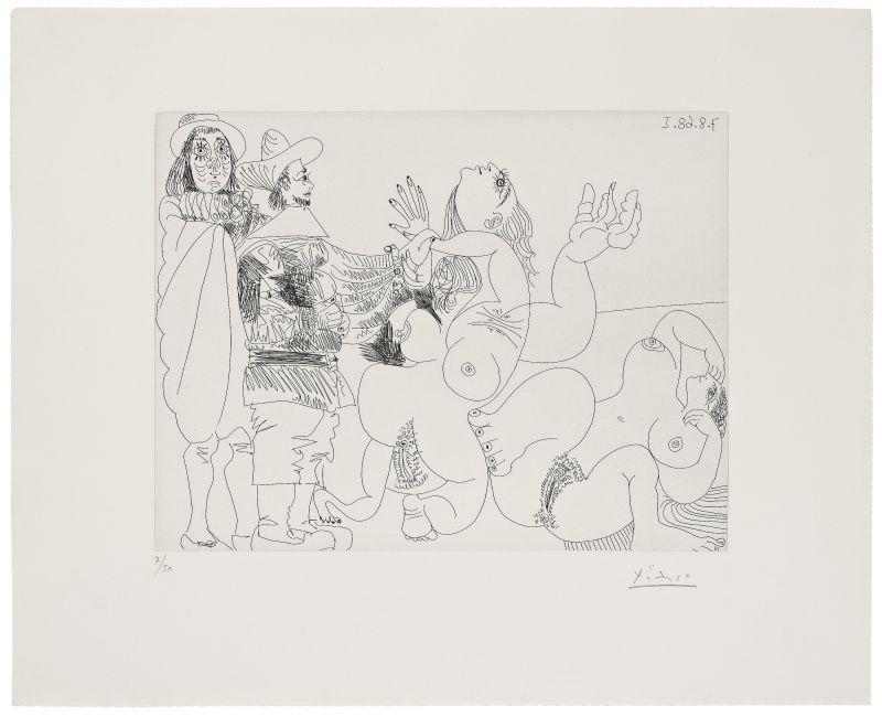 Jeune seigneur fantoche avec un reitre et deux femmes nues (Eau-forte) - Pablo  PICASSO