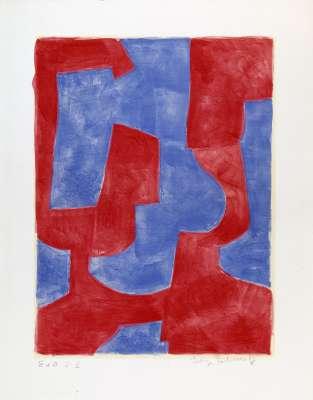 Composition bleue et rouge L57 (Lithograph) - Serge  POLIAKOFF