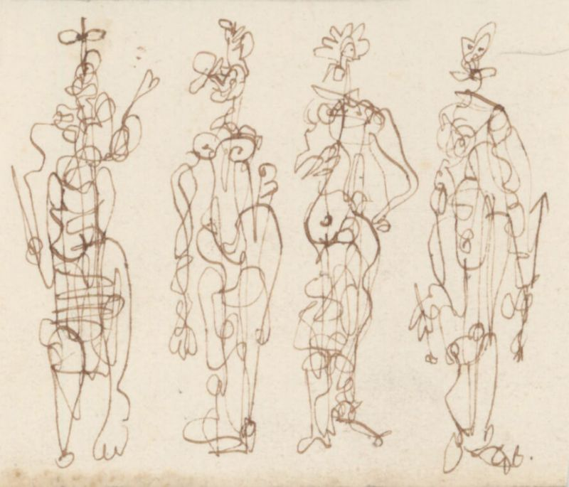 4 personnages (Dessin) - Georges BRAQUE