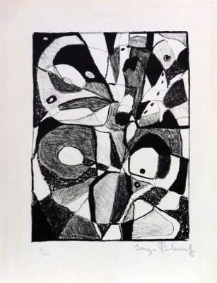 Lithographie en noir (Lithographie) - Serge  POLIAKOFF