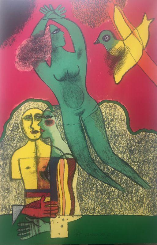 Nu vert et personnages (Lithographie) - Guillaume CORNEILLE