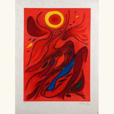 Le Soleil Rouge (Farblithographie) - Gustave  SINGIER