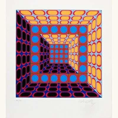 Composition cinétique en bleu, orange et violet (Sérigraphie) - Victor  VASARELY