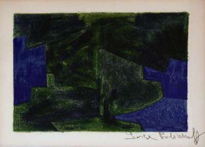 Composition bleue et verte 41 (Farblithographie) - Serge  POLIAKOFF