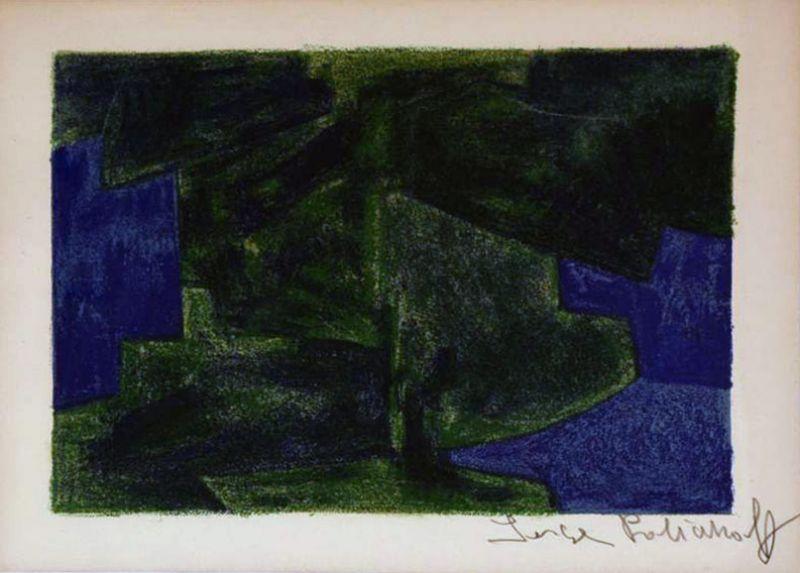 Composition bleue et verte 41 (Lithographie) - Serge  POLIAKOFF