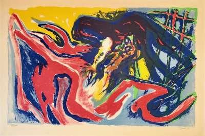 PIGNON Edouard / Grand combat de coqs (Lithographie) -  Artistes Divers