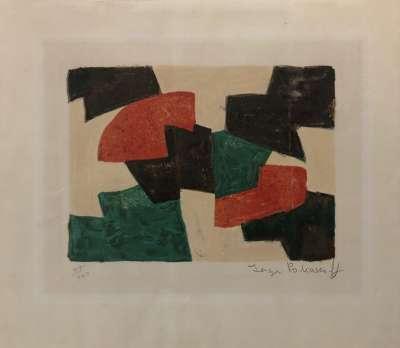 Composition verte, beige, rouge et brune (Lithographie) - Serge  POLIAKOFF