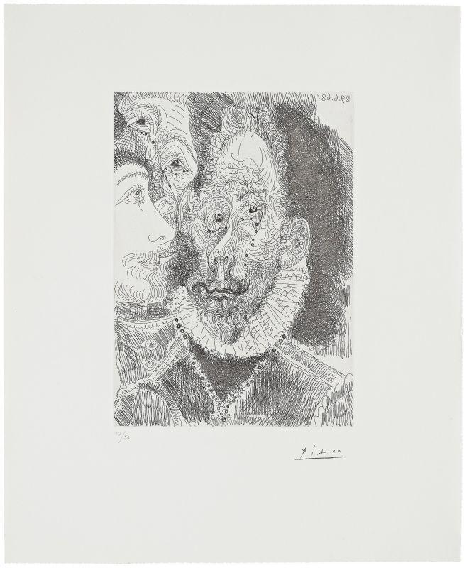 Portrait-charge d'un personnage en larmes (Eau-forte) - Pablo  PICASSO