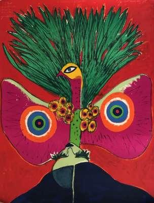 L'oiseau papillon (Lithograph) - Guillaume CORNEILLE