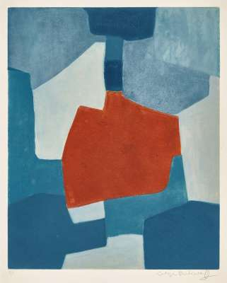 Composition bleue et rouge XXXI (Aquatinte) - Serge  POLIAKOFF