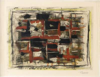 Noir et rouge (Etching and aquatint) - Roger BISSIERE